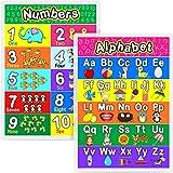 Póster Educativo Pósters Preescolares Laminados para Niños Jardín de Infancia Aula, 16,9 x 11,9 Pulgadas (Alfabeto, Número 1-10, 2 Piezas)