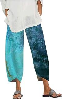 RIZI Flowy Pants for Women Linen Cotton Elastic Boho Sunflower Clothing Summer Casual Comfy Palazzo Wide Leg Pajama Pant
