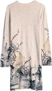 HangErFeng Dress Printed Wool Knitting Comfortable Round Collar and Long Sleeves Skirt