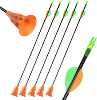 Huntingdoor Archery Suction Cup Arrows Fiberglass Fletched Vanes with Safe Fixed Suction Cup for Kids Youth Beginner for Target Practice Game 6 Pack