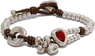 Bracciale a mano con pelle, perline e swarovski zama, per Intendenciajewels - cinturino in pelle - Bracciali swarovski - B...