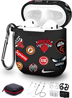 Compatible with Air Pod Cases Cover Kits,Five Star Online 9 in 1 Earpods Case Soft Silicone with Keychain/Ear Hook/Holder/Straps/Carrying Box Compatible with Air Pods Case Cover for Men Boys