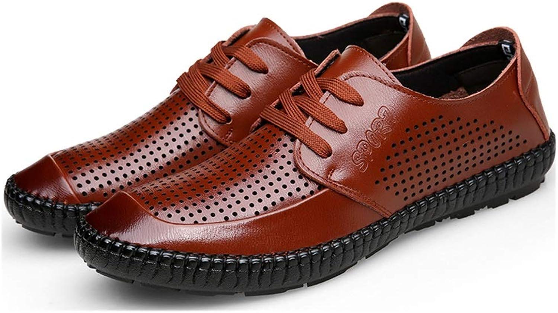 EGS-schuhe Driving Loafers for Mnner Hollow Lace Up rutschfeste atmungsaktive Business Casual Lederschuhe Tide Hochzeit Tanzschuhe Lightweight,Grille Schuhe (Farbe   braun, Größe   38 EU)