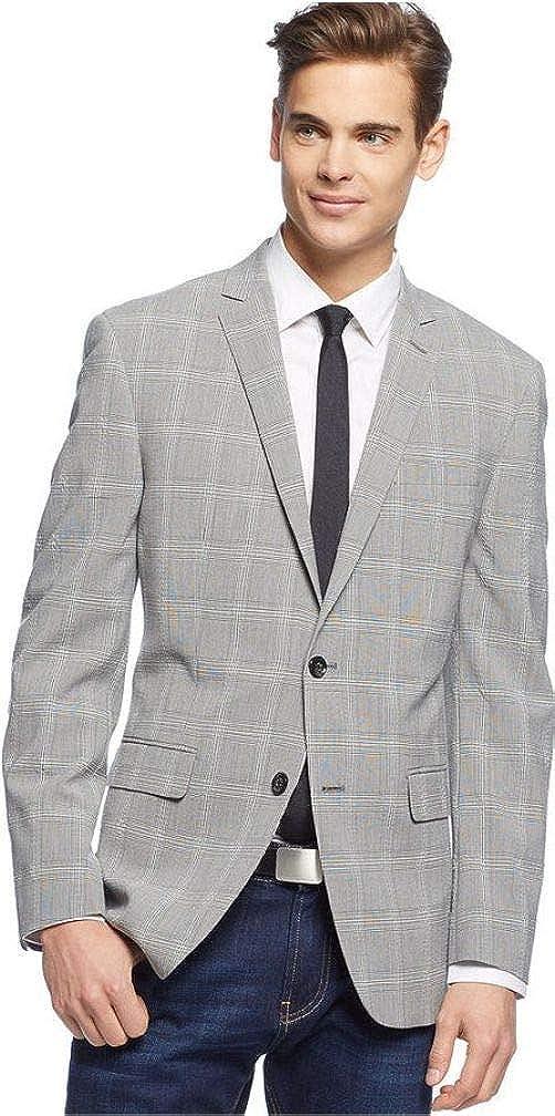 Bar III Sport Coat Light Grey Seersucker Glen Plaid Slim Fit, 38 Long