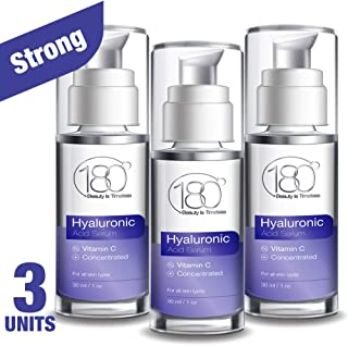 Hyaluronic Acid Serum For Face - Pack of 3-180 Cosmetics - Face Serum For Face and Eyes - Pure Hyaluronic Acid Serum for Reduced Wrinkles and Fine Line and for Visibly Plumped