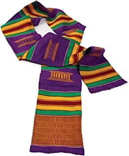"""African Inspired Fashions 60"""" x 4.5"""" Authentic Hand Woven Kente Stole - Several Color Combinations"""