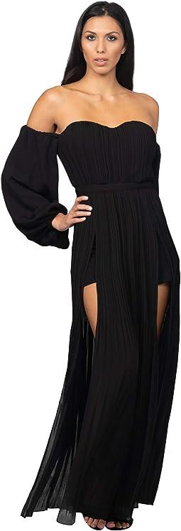 Off Shoulder Front Slit Maxi Dress