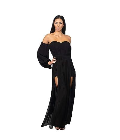 Bebe Off Shoulder Front Slit Maxi Dress