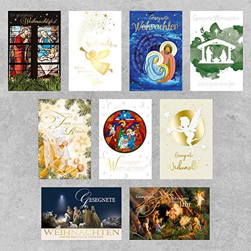 PremiumLine Weihnachtskarten Set 9 Stück mit Umschlag Gesegnete Weihnachten religiöse Grußkarte zur Weihnachtszeit Klappkarte