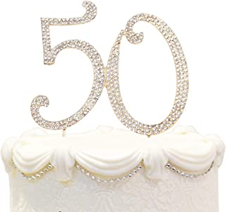 Hatcher lee Bling Crystal 50 Birthday Cake Topper - Best Keepsake | 50th Party Decorations Gold