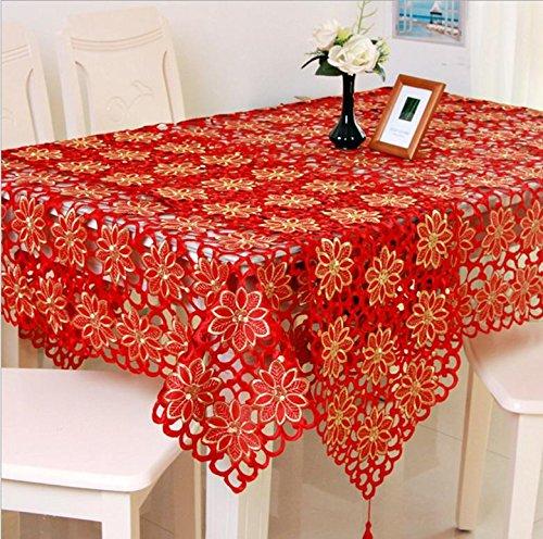 Table de mariage de haute qualité Chiffons Nappe Floral brodé bordure en dentelle antipoussière Housses pour Home Party Table Table classique Tissu décoratif , 140x200 cm