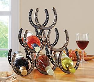 Wecharger Attractive Rustic Brown Table Top Horse Shoe Wine Rack,Convenient, Stylish, Sturdy Construction