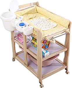 JINYANG Children Portable Clothes Diaper Changing Table Newborn Massage Table Baby Shower and Changing Table Adjustable Storage Foldable Safety Straps Nursery