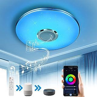 Wayrank Plafonnier Led avec Haut-parleur Wifi, RGB Eclairage de Plafond avec Télécommande et Contrôle APP, Compatible avec...