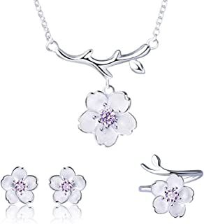 ISAACSONG.DESIGN 925 Sterling Silver Daisy/Sakura/Snowflake Flower Crystal Pendant Necklace Earring Bracelets Ring Set for Women and Girls
