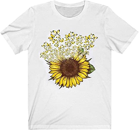 Women Summer Crew Neck Short Sleeve T Shirt Daisy Print Blouse Casual Tops Tee