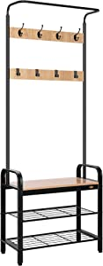VIVOHOME 3-in-1 Entryway Hall Tree, Heavy Duty MDF Stand Coat Rack with Storage Bench, Industrial Wood Furniture with Stable Metal Frame, 8 Hooks, Light Brown