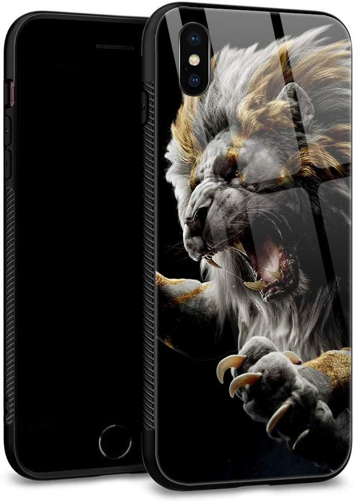 iPhone Xs Case,iPhone X Cases Tempered Glass Back Shell Cool Pattern Designed with Soft TPU Bumper Case Fashion for Boys Men Apple iPhone X/XS Cases -Lion Leo Post