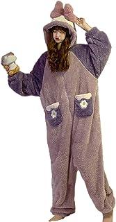 [JINPIN]パジャマ レディース ルームウェア 着ぐるみ 部屋着 オールインワン 着ぐるみパジャマ ナイトウェア 寝間着 きぐるみ 大人用着ぐるみ 寝巻き ホームウェア 動物 かわいい フッド もこもこ 長袖 ロング 前開き 秋冬 男女兼用