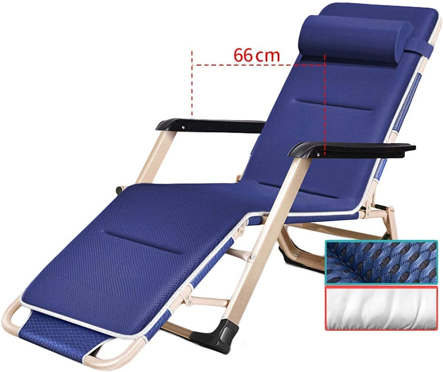 Patio Lounge Chair Portable Folding Chairs with Adjustable Pillow, Reclining for Beach, Swimming Pool, Garden, Lawn, Outdoors and Indoors, blueee, Support 240kg (color   Chair+pad),B