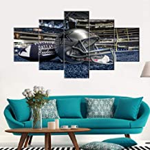 Native American Decor Dallas Cowboys Pictures Super Bowl Paintings 5 Panel Canvas Wall Art The National Football League Artwok Home Decor for Living Room Giclee Framed Ready to Hang(60''Wx32''H)