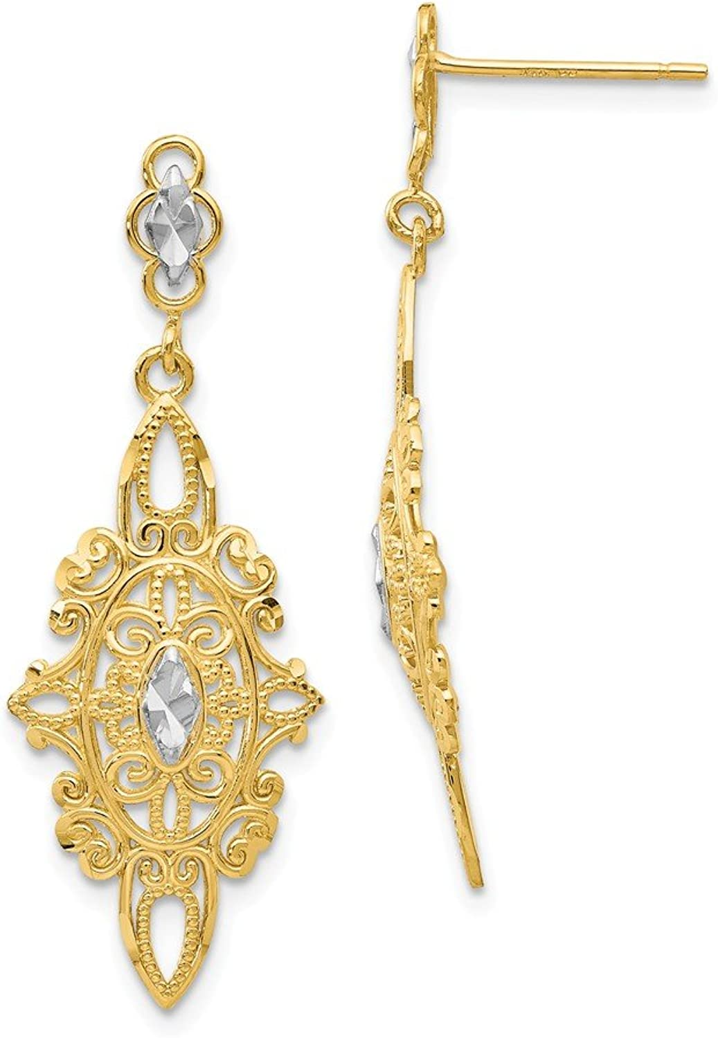 Beautiful rhodium plated gold and silver 14K rhodiumplatedgoldandsilver 14k Rhodium Diamondcut Filigree E