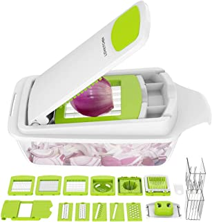 Vegetable Chopper Dicer Slicer Cutter Manual/Vegetable Grater with 11 Interchangeable Blades - LOVKITCHEN Multi-functional Adjustable Vegetable & Fruit Chopper Dicer with Storage Container