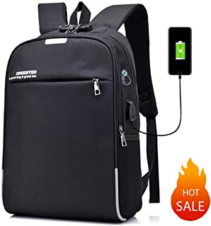 YUNS Business Reflective Waterproof Anti-Theft Lock College Laptop Backpack with USB Charging Port and Headset Port (Black)