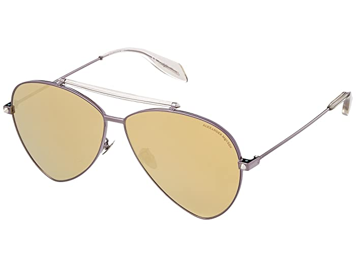 Alexander McQueen  AM0058S (Brown/Gold Mirror) Fashion Sunglasses