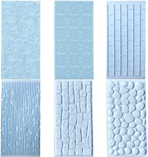 6 Pcs Fondant Impression Texture Mat Mold Set, Light Blue Fondant Embossed Tree Bark/Brick Wall/Flower/Cobblestone/Stone Wall Texture Rolling Pin Design Mold for Chocolate Cupcake Cake