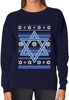 TeeStars - Happy Hanukkah Ugly Holiday Sweater Star of David Women Sweatshirt