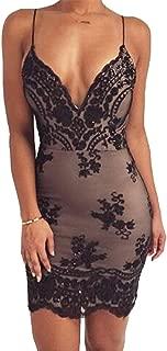 Women Straps V Neck Cocktial Dress Sequin Mesh Patchwork Low Cut Back Club Dresses