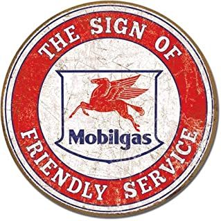 The Finest Website Inc. Mobil Mobilgas Round Sign 11.75 inches in Diameter (D2025) Weathered Appearance Advertising Tin Sign