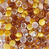 WeJe Glass Gems Medium 17-21 mm Round Flat Back Marbles for Home Decor Art Craft Vase Filler Aquarium (28 oz (1.75 LB), Gold Mix)