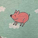 Stoff Meterware Baumwolle mint grün Ferkel Schweine rosa