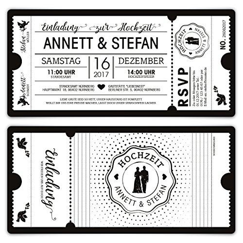 60 x Hochzeit Einladungen Einladungskarten Schwarz-Weiß Ticket Eintritt weiße Version