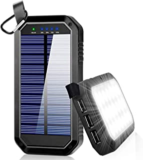 Ayyie Solar Charger, Portable Charger Power Bank with 3-USB Outports & 21 LED Flashlights, 8000mAh Backup Battery Pack Phone Charger for Camping, Outdoor, Outside Activities