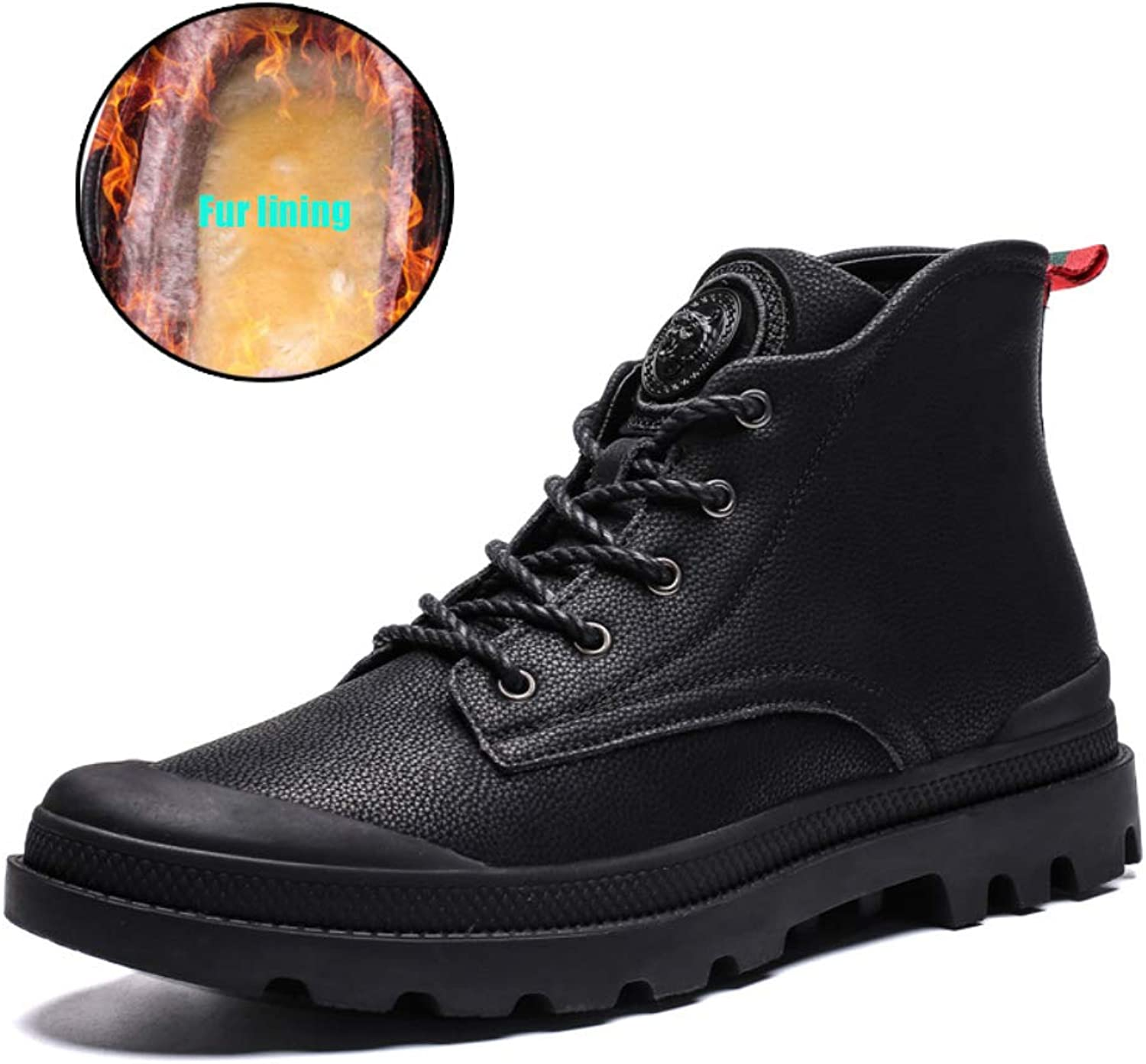 Men's Ankle Boots Fur Lining Non-Slip Safety Boots Winter Warm Work shoes Size 5-9