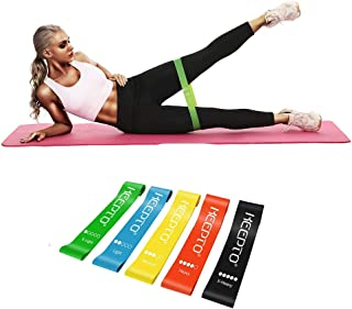 KEEPTO Resistance Loop Bands, Latex Elastic Exercise Bands with Instruction Guide and Carry Bag, Set of 5
