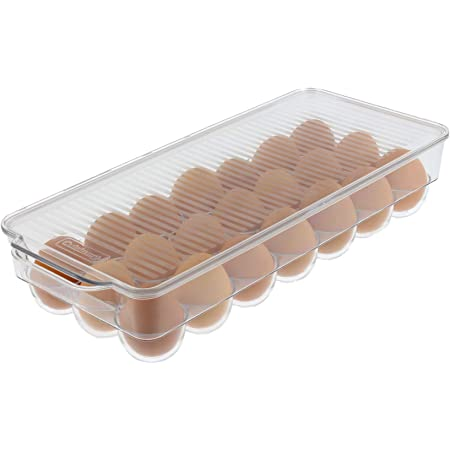 Cuisinart Egg Holder with Lid and Handle, Holds 21 Eggs – This Egg Container is a Must-Have Space Saver for Your Refrigerator – See-Through, Stackable, BPA Free – Measures 14.5 x 6.25 x 3