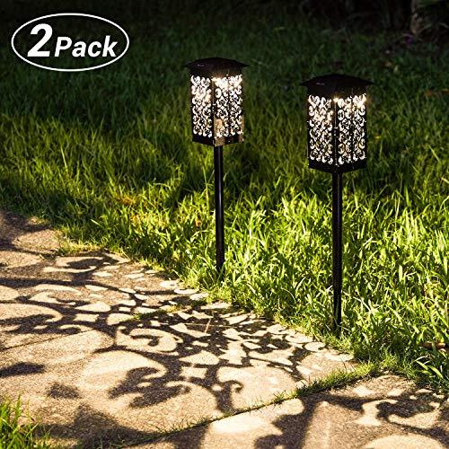 Solar Gartenleuchte für Außen,OxyLED 2 Stück Solar Gartenleuchte IPX5 Wasserdicht Automatisch Ein/Aus mit Erdspieß Kunststoff,Solarlampen für Garten Patio Rasen Terrasse(Warmweiß)