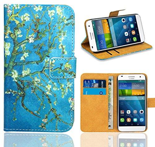 FoneExpert® Huawei Ascend G7 Handy Tasche, Wallet Hülle Flip Cover Hüllen Etui Ledertasche Lederhülle Premium Schutzhülle für Huawei Ascend G7 (Pattern 8)