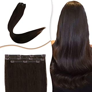RUNATURE Darkest Brown Clip in Human Hair Extension 3 piece 12 inch On Sale Soft Long Straight Remy Hair Double Weft Extensions for Party 50g #2