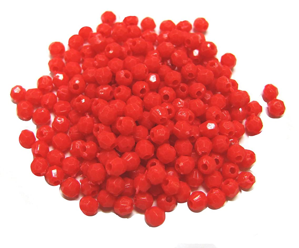 Linpeng Plastic Faceted Round Beads, 4mm/0.5-Pound, Red