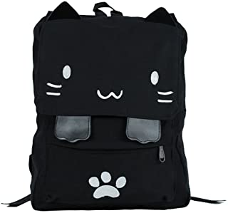 d67fc23a20f Black College Cute Cat Embroidery Canvas School Laptop Backpack Bags For  Women Kids Plus Size Japanese
