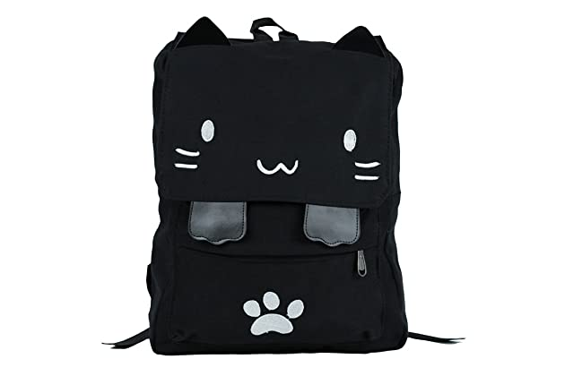 0d8b6ab5b9b9 Black College Cute Cat Embroidery Canvas School Laptop Backpack Bags For  Women Kids Plus Size Japanese Cartoon Kitty Paw Schoolbag Ruchsack Girls  Boys ...
