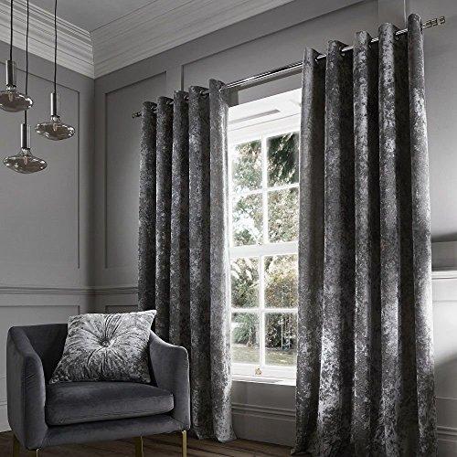Catherine Lansfield Vorhang aus gecrashtem Samt mit Ösenaufhängung, Polyester, Silber, 152,4 cm x 228,60 cm