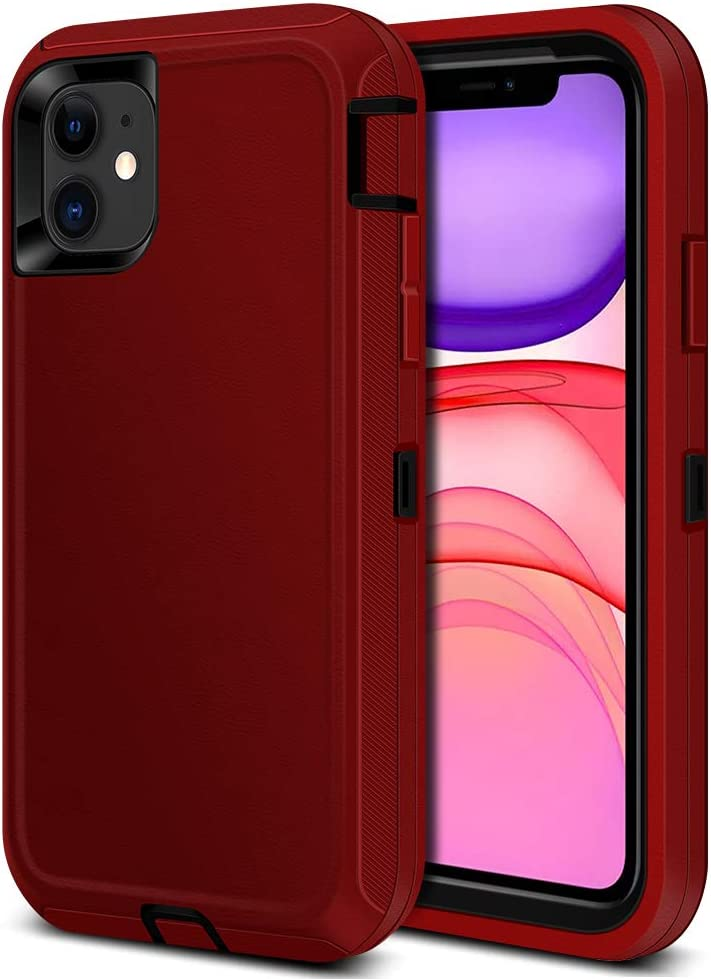 iPhone 11 Case, Jiunai Heavy Duty Strong Outdoor Tough Drop Protection Shockproof Anti Scratch Dual Layer Soft TPU Hard PC Sports Armor Rugged Cover Matte Case ONLY for iPhone 11 6.1 inches 2019 Red