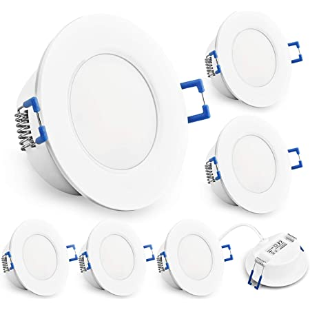 KYOTECH LED Encastrable Plafonnier Lot de 6,6W 230V blanc chaud 3000K 500 Lumen,extra plat encastré lampe plafonnier plat,Etanche,IP44 pour salle de bain, cuisine, chambre, etc (Blanc, Ronde)