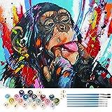 TUFEIMJ Pintar por numeros adultos,Cuadro para pintar con numeros,cuadros por numeros,lienzos para pintar,Pintura al óleo sobre lienzo sin arrugas, pintura de regalo, 50 * 40cm(Orangután de Color)